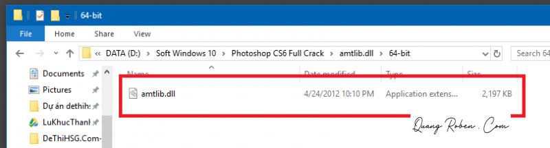 """Bước 1: Vào thư mục giải nén sau khi tải về, chọn mục """"Crack"""". Trong đó sẽ có 2 thư mục """"amtlib.dll"""" 32 bit và 64 bit. Các bạn hãy vào thư mục amtlib theo hệ điều hành phù hợp với máy tính của mình, sau đó copy file """"amtlib""""."""
