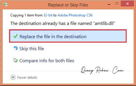 """Tiếp tục bước 2: Tìm vào thư mục cài đặt phần mềm Photoshop CS6 trên máy tính của bạn theo đường dẫn bên dưới.  + Máy 32 bit: C:\Program Files (x86)\Adobe\Adobe Photoshop CS6  + Máy 64 bit: C:\Program Files\Adobe\Adobe Photoshop CS6  Sau đó dán file """"amtlib"""" vừa copy ở bước trên vào đây."""