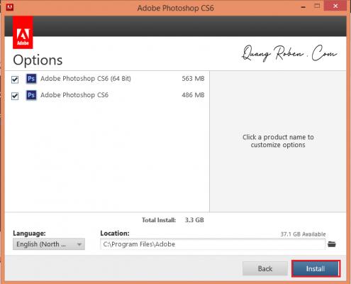 Ở màn hình Options, bạn hãy tick chọn phiên bản Photoshop Adobe CS6 theo hệ điều hành computer  mình.